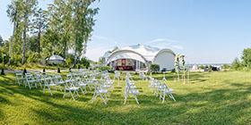 Летняя веранда для свадебного торжества, база отдыха «Дзержинец»